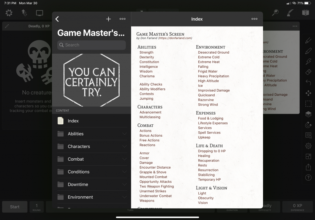 Game Master's Screen for Encounter+
